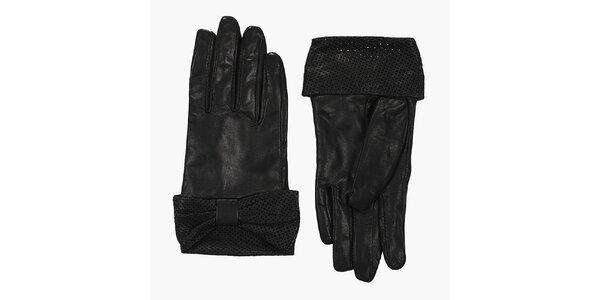Dámské černé kožené rukavice French Connection