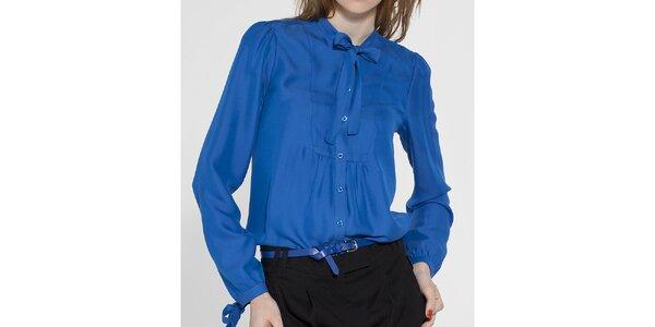 Dámská královsky modrá košile French Connection s vázankou