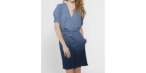 Dámské modré šaty French Connection s výstřihem do véčka