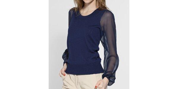 Dámský tmavě modrý svetřík French Connection s transparentními rukávy