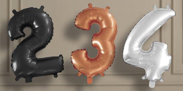 Velké nafukovací balónky ve tvaru číslic: 100 cm