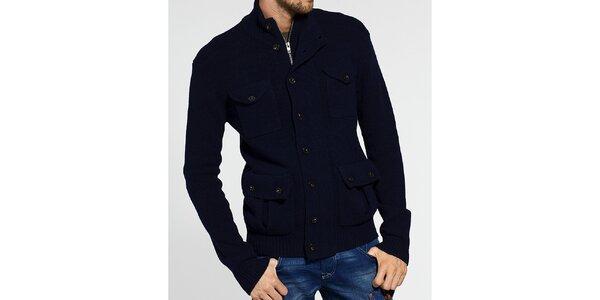 Pánský tmavě modrý svetr French Connection se zipem