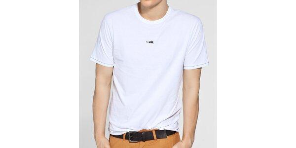 Pánské bílé tričko French Connection s černým potiskem a černým prošíváním