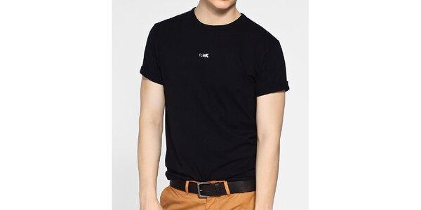 Pánské černé tričko French Connection s bílým potiskem a bílým prošíváním