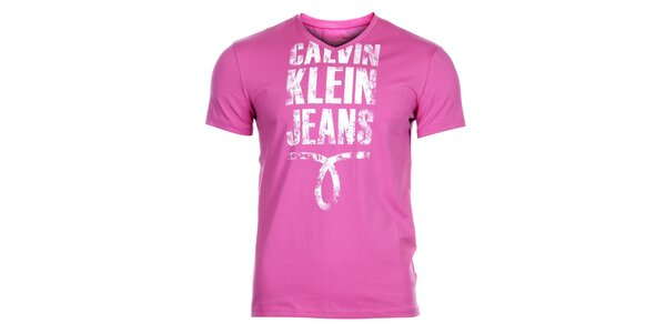 Pánské světle růžové tričko Calvin Klein s potiskem