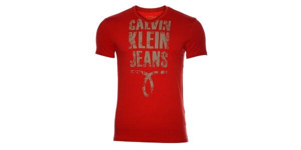 Pánské červené tričko Calvin Klein s potiskem