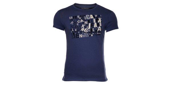 Pánské tmavě modré tričko Calvin Klein s barevným potiskem
