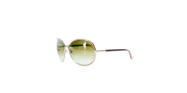 Dámské zeleno-zlaté sluneční brýle Tom Ford
