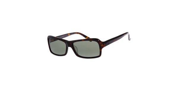 Dámské tmavě hnědé žíhané sluneční brýle Calvin Klein