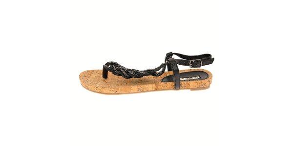 Dámské černé sandály Buffalo na korkové platformě