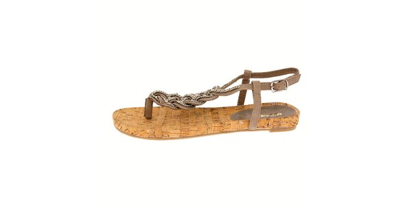 Dámské šedohnědé sandály Buffalo na korkové platformě