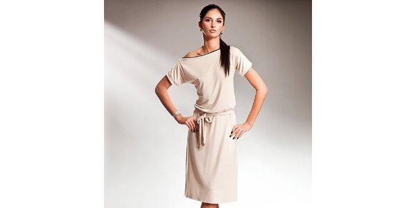 Dámské krémové šaty s efektní mašlí Nife