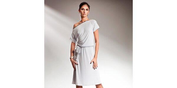 Dámské šedé šaty s efektní mašlí Nife