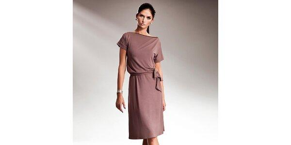 Dámské kávové šaty s efektní mašlí Nife