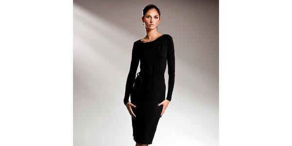 Dámské černé šaty s dlouhými rukávy Nife