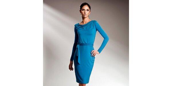 Dámské modré šaty s dlouhými rukávy Nife