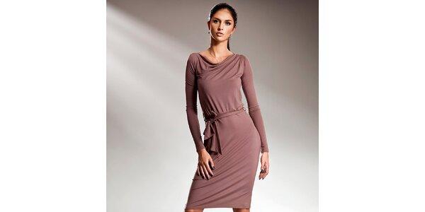 Dámské moka šaty s dlouhými rukávy Nife