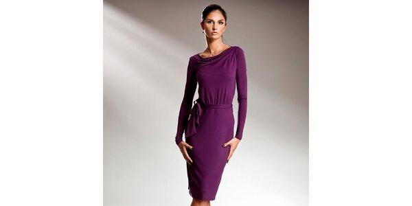 Dámské fialové šaty s dlouhými rukávy Nife