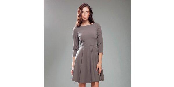 Dámské kávové šaty s širokou sukní Nife