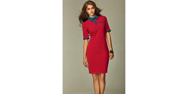 Dámské červené košilové šaty se zelenými detaily Nife