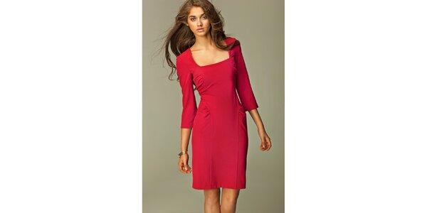 Dámské červené šaty s ozdobnými sklady Nife