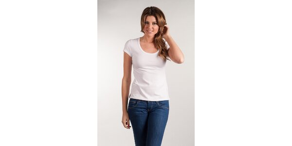 Dámské bílé tričko Calvin Klein kulatý výstřih