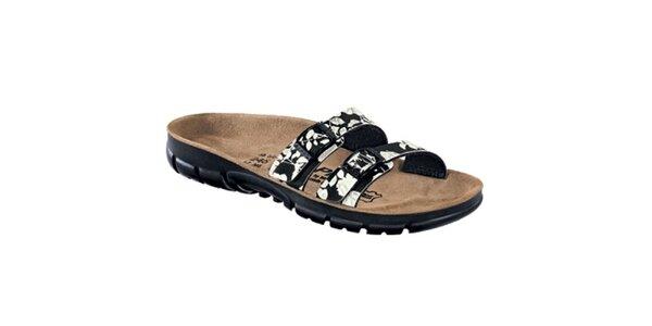 Dámské černé pantoflíčky s květy Alpro