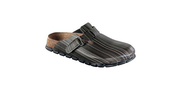 Dámské hnědo-šedé pruhované pantofle Alpro