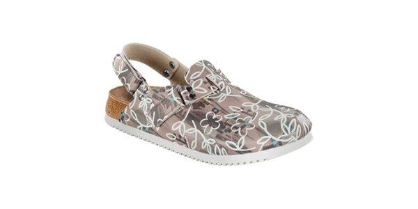 Dámské hnědé sandále s květinovým vzorem Alpro