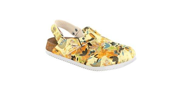Dámské vanilkovo-oranžové sandále s květinovým vzorem Alpro