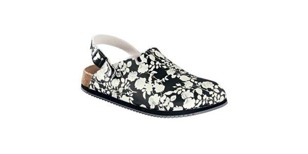 Dámské černo-bílé sandále s květinovým vzorem Alpro