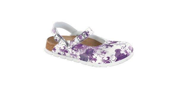 Dámské bílé zdravotní pantofle s fialovým potiskem Alpro