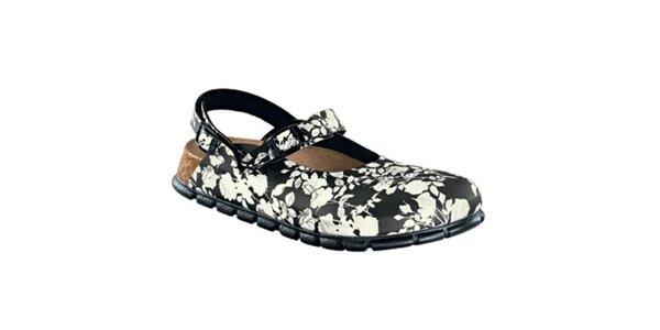 Dámské černé zdravotní pantofle s bílými květy Alpro