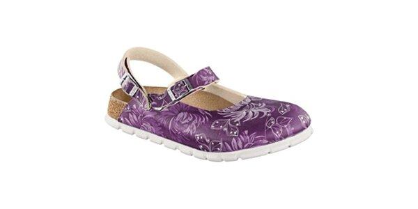 Dámské fialové zdravotní pantofle s bílými květy Alpro