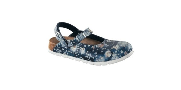 Dámské indigové zdravotní pantofle s květy Alpro