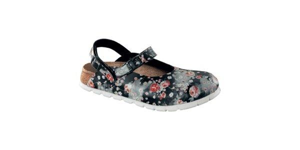 Dámské černé zdravotní pantofle s květy Alpro