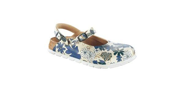Dámské bílé zdravotní pantofle s modrými květy Alpro