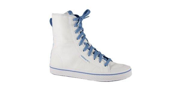Dámské bílé vysoké kotníkové tenisky Adidas s modrými detaily