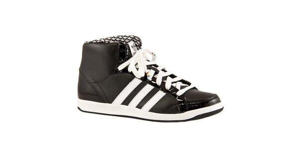 Černé kožené kotníkové tenisky Adidas s bílými proužky