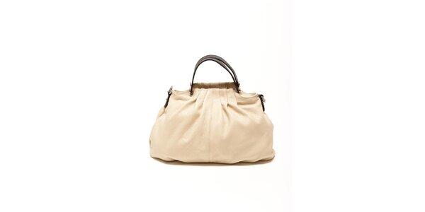 Dámská béžová kožená kabelka s hnědými detaily Renata Corsi 73d4fd497ff