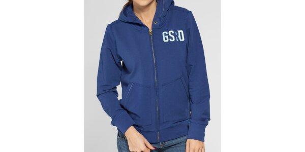 Dámská modrá mikina G-Star Raw s kapucí a potiskem