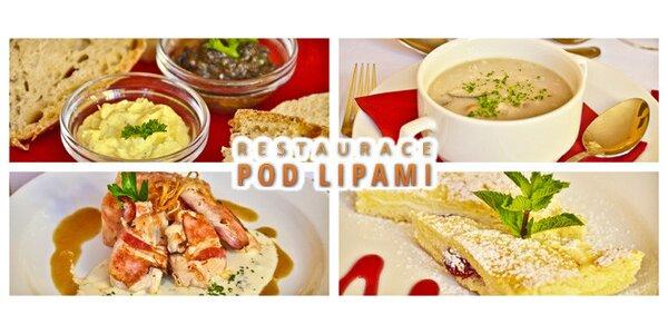 4chodové menu pro dvě osoby v restauraci Pod Lipami
