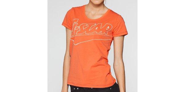 Dámské oranžové tričko G-Star Raw s potiskem