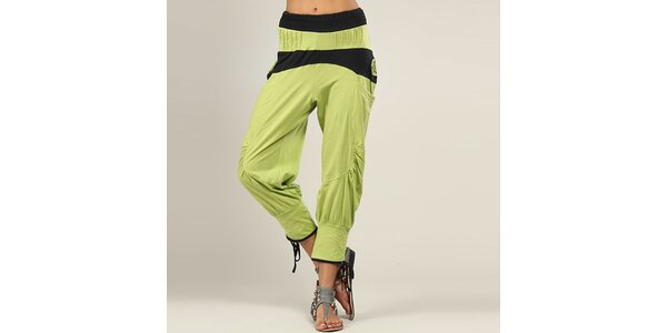 Dámské zeleno-černé harémové kalhoty Coline