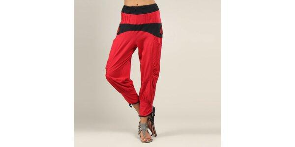 Dámské červeno-černé harémové kalhoty Coline