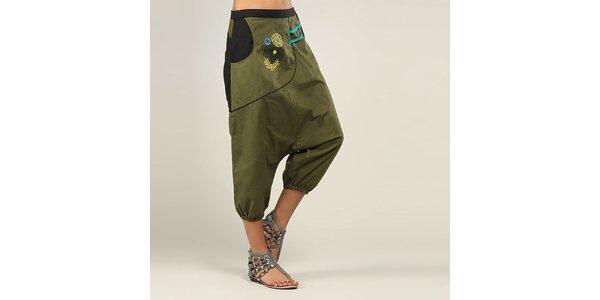 Dámské olivově zelené lesklé kalhoty Coline