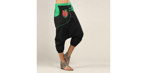 Dámské černo-zelené turecké kalhoty Coline