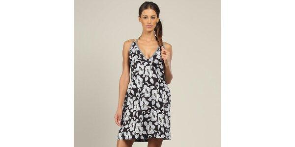 Dámské černé šaty s šedými květinami Coline