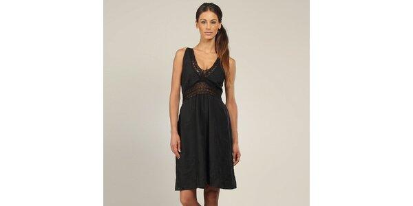 Dámské černé šaty s krajkou Coline
