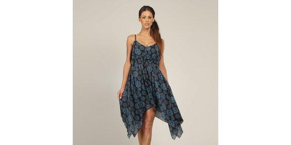 Dámské černé šaty s modrým vzorkem Coline